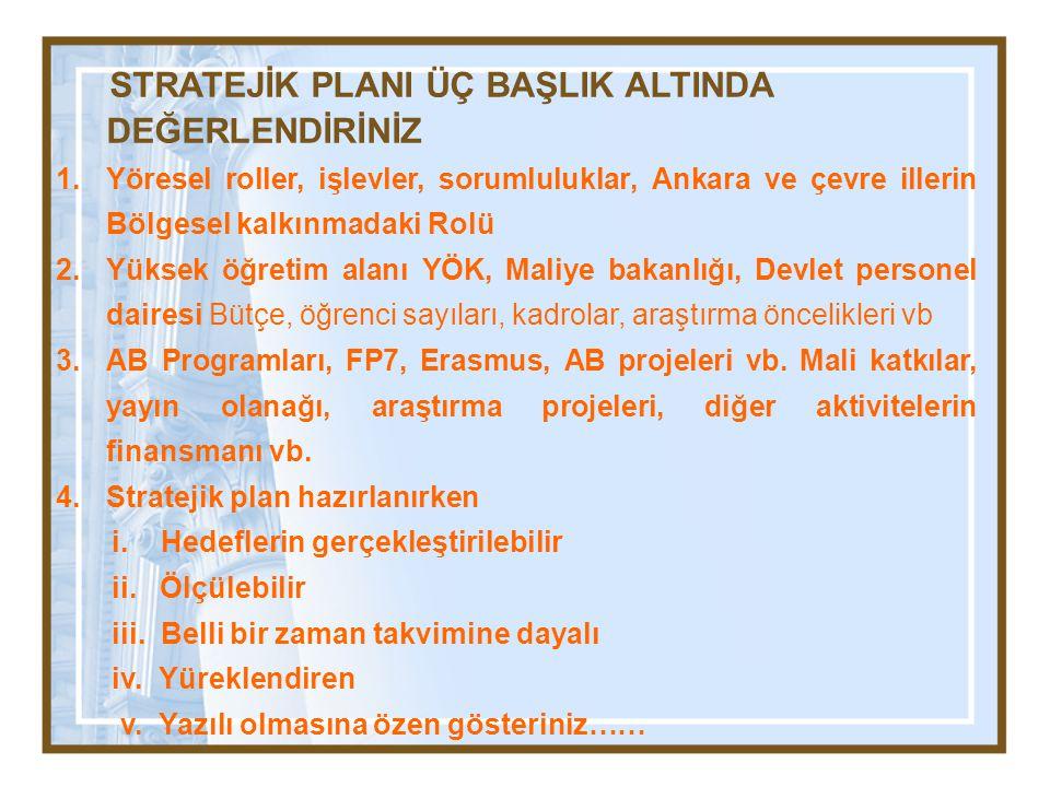 STRATEJİK PLANI ÜÇ BAŞLIK ALTINDA DEĞERLENDİRİNİZ 1.Yöresel roller, işlevler, sorumluluklar, Ankara ve çevre illerin Bölgesel kalkınmadaki Rolü 2.Yüks