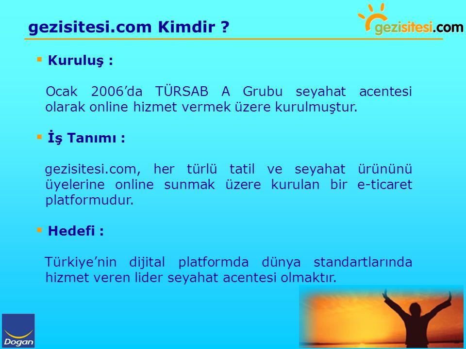 gezisitesi.com Kimdir ?  Kuruluş : Ocak 2006'da TÜRSAB A Grubu seyahat acentesi olarak online hizmet vermek üzere kurulmuştur.  İş Tanımı : gezisite