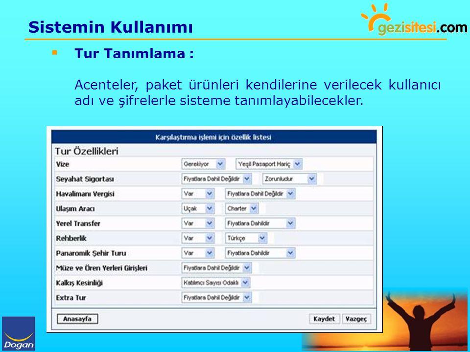 Sistemin Kullanımı  Tur Tanımlama : Acenteler, paket ürünleri kendilerine verilecek kullanıcı adı ve şifrelerle sisteme tanımlayabilecekler.