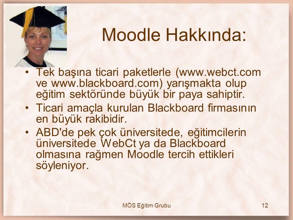 MÖS Eğitim Grubu12 •Tek başına ticari paketlerle (www.webct.com ve www.blackboard.com) yarışmakta olup eğitim sektöründe büyük bir paya sahiptir. •Tic