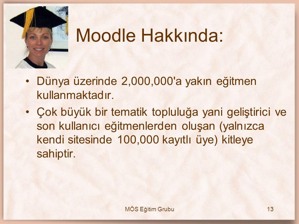 MÖS Eğitim Grubu13 Moodle Hakkında: •Dünya üzerinde 2,000,000'a yakın eğitmen kullanmaktadır. •Çok büyük bir tematik topluluğa yani geliştirici ve son