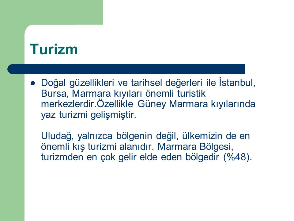 Turizm  Doğal güzellikleri ve tarihsel değerleri ile İstanbul, Bursa, Marmara kıyıları önemli turistik merkezlerdir.Özellikle Güney Marmara kıyıların