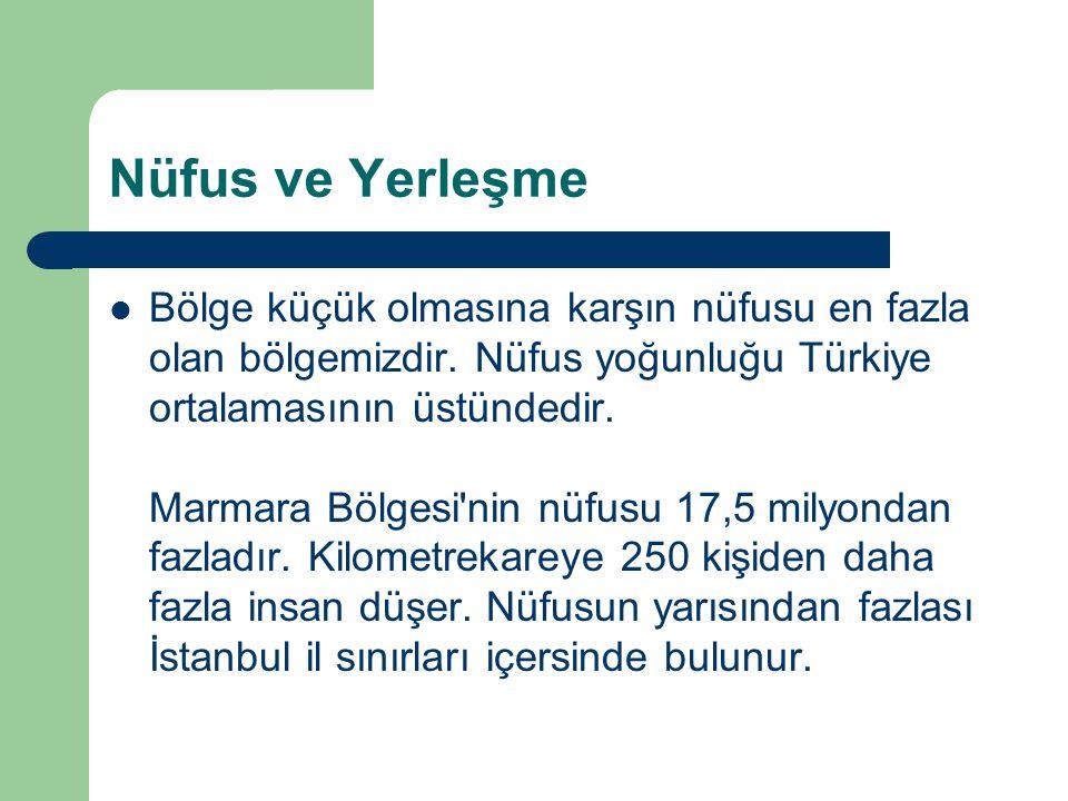 Nüfus ve Yerleşme  Bölge küçük olmasına karşın nüfusu en fazla olan bölgemizdir. Nüfus yoğunluğu Türkiye ortalamasının üstündedir. Marmara Bölgesi'ni