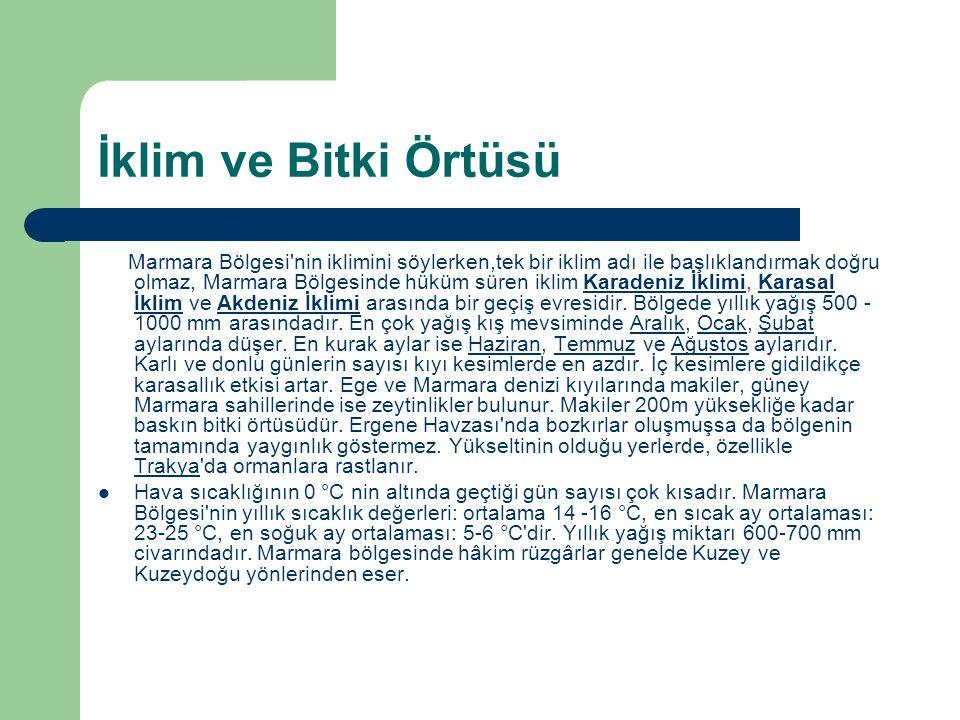 İklim ve Bitki Örtüsü Marmara Bölgesi'nin iklimini söylerken,tek bir iklim adı ile başlıklandırmak doğru olmaz, Marmara Bölgesinde hüküm süren iklim K