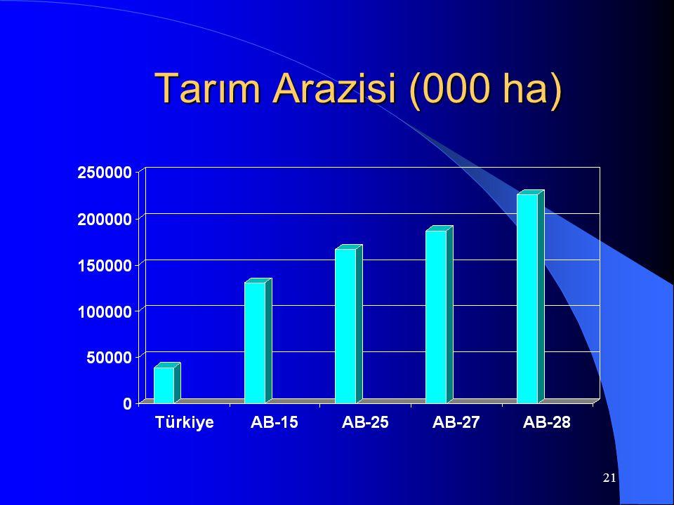 21 Tarım Arazisi (000 ha)