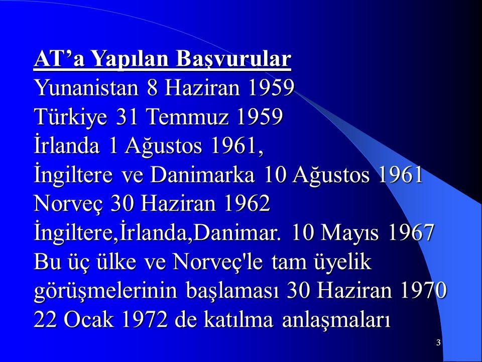 3 AT'a Yapılan Başvurular Yunanistan 8 Haziran 1959 Türkiye 31 Temmuz 1959 İrlanda 1 Ağustos 1961, İngiltere ve Danimarka 10 Ağustos 1961 Norveç 30 Ha