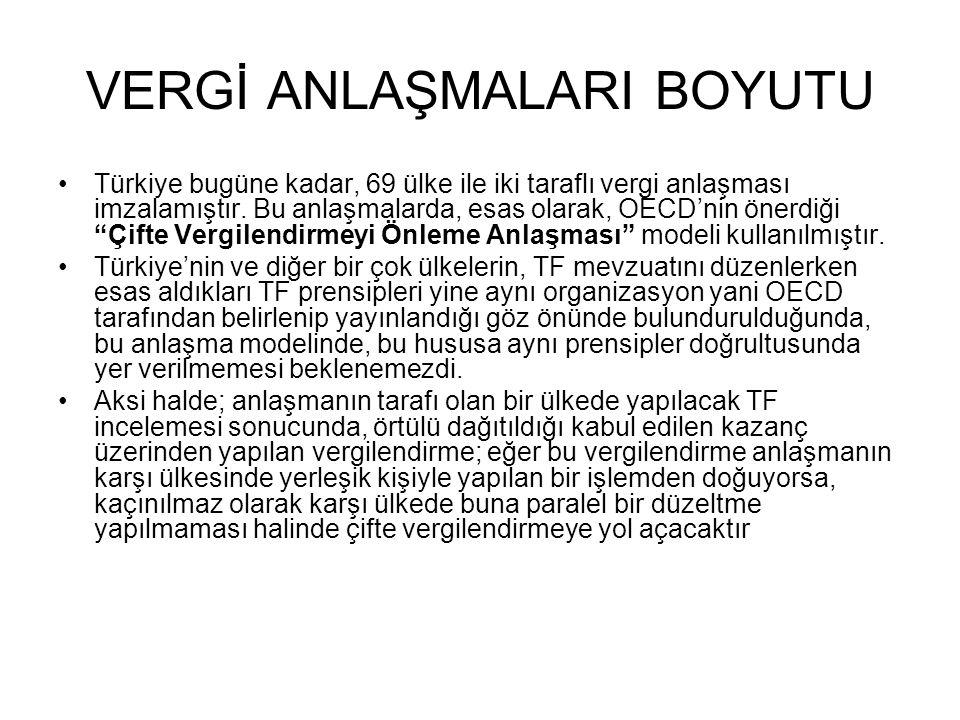 VERGİ ANLAŞMALARI BOYUTU •Türkiye bugüne kadar, 69 ülke ile iki taraflı vergi anlaşması imzalamıştır.