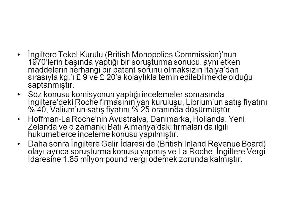 •İngiltere Tekel Kurulu (British Monopolies Commission)'nun 1970'lerin başında yaptığı bir soruşturma sonucu, aynı etken maddelerin herhangi bir patent sorunu olmaksızın İtalya'dan sırasıyla kg.'ı £ 9 ve £ 20'a kolaylıkla temin edilebilmekte olduğu saptanmıştır.