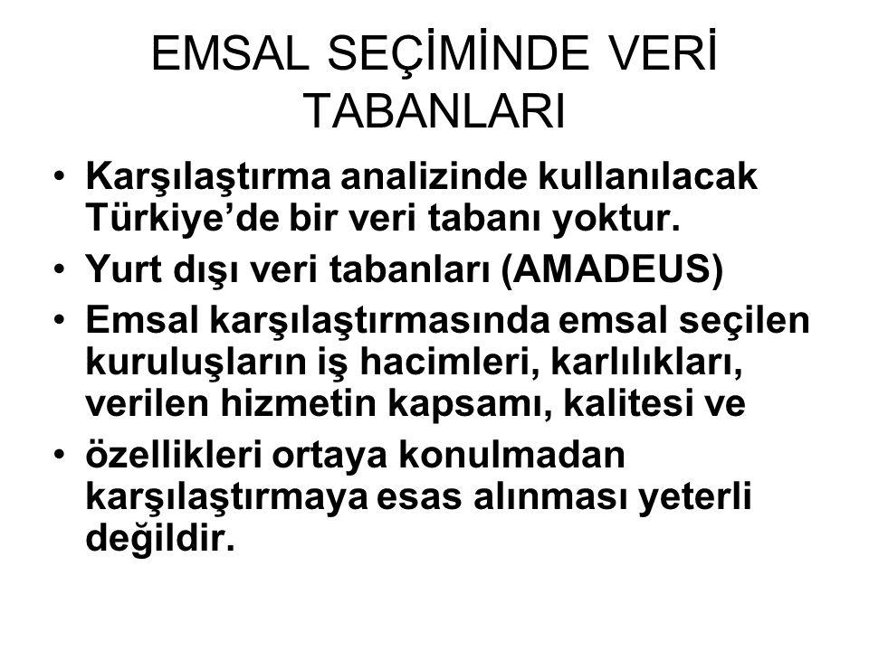 EMSAL SEÇİMİNDE VERİ TABANLARI •Karşılaştırma analizinde kullanılacak Türkiye'de bir veri tabanı yoktur.