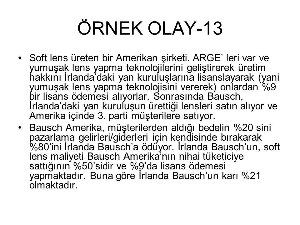 ÖRNEK OLAY-13 •Soft lens üreten bir Amerikan şirketi.