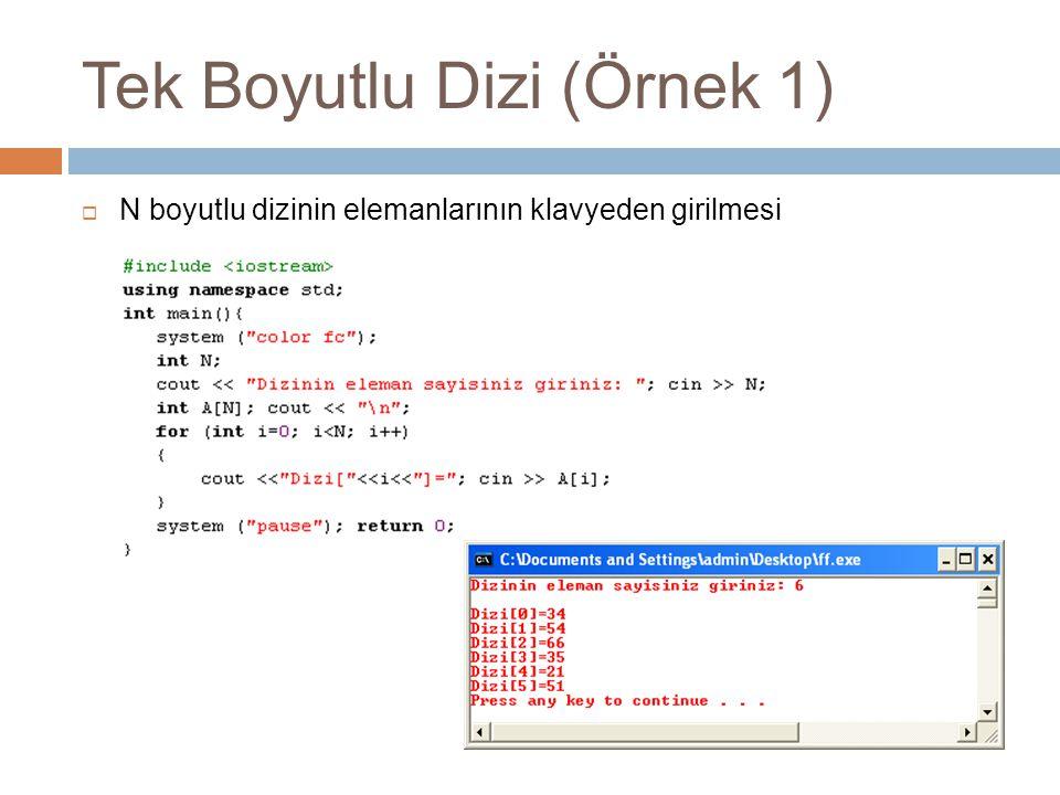 Tek Boyutlu Dizi (Örnek 1)  N boyutlu dizinin elemanlarının klavyeden girilmesi