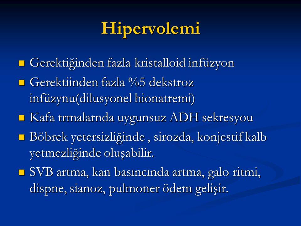 Hipervolemi  Gerektiğinden fazla kristalloid infüzyon  Gerektiinden fazla %5 dekstroz infüzynu(dilusyonel hionatremi)  Kafa trmalarnda uygunsuz ADH