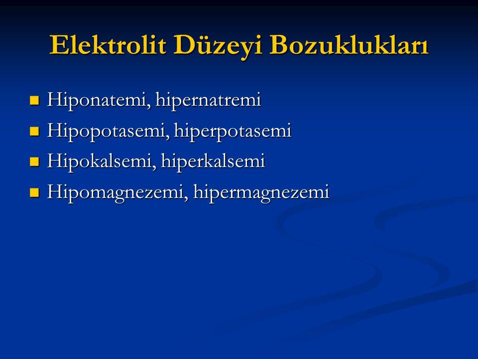 Elektrolit Düzeyi Bozuklukları  Hiponatemi, hipernatremi  Hipopotasemi, hiperpotasemi  Hipokalsemi, hiperkalsemi  Hipomagnezemi, hipermagnezemi