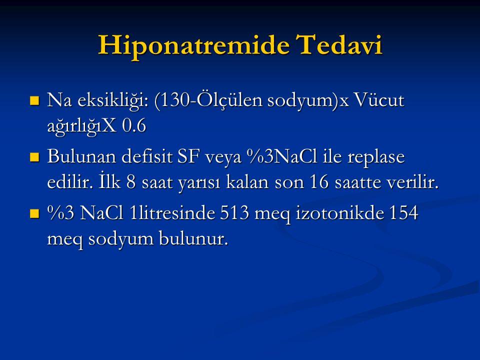 Hiponatremide Tedavi  Na eksikliği: (130-Ölçülen sodyum)x Vücut ağırlığıX 0.6  Bulunan defisit SF veya %3NaCl ile replase edilir. İlk 8 saat yarısı