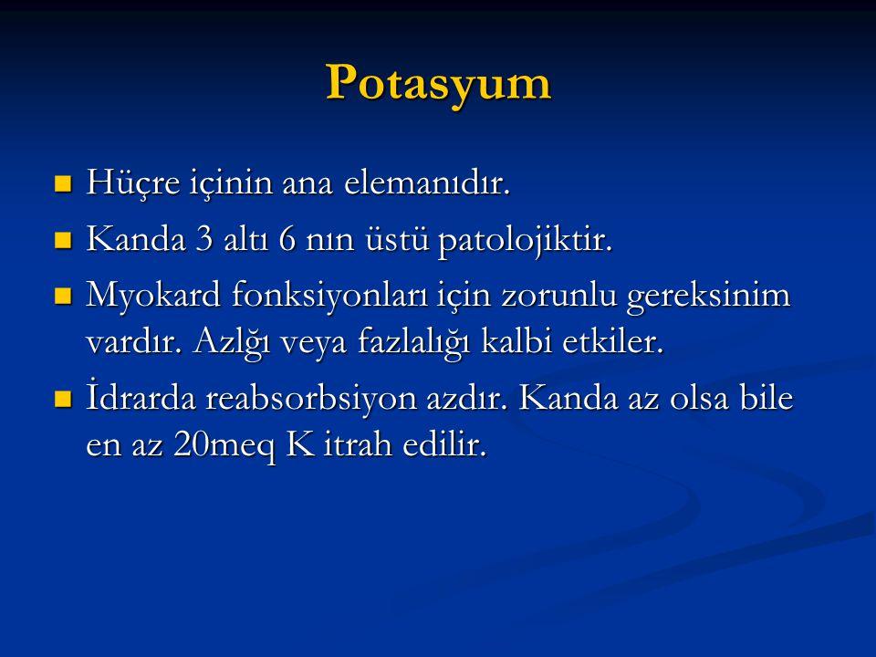 Potasyum  Hüçre içinin ana elemanıdır.  Kanda 3 altı 6 nın üstü patolojiktir.  Myokard fonksiyonları için zorunlu gereksinim vardır. Azlğı veya faz