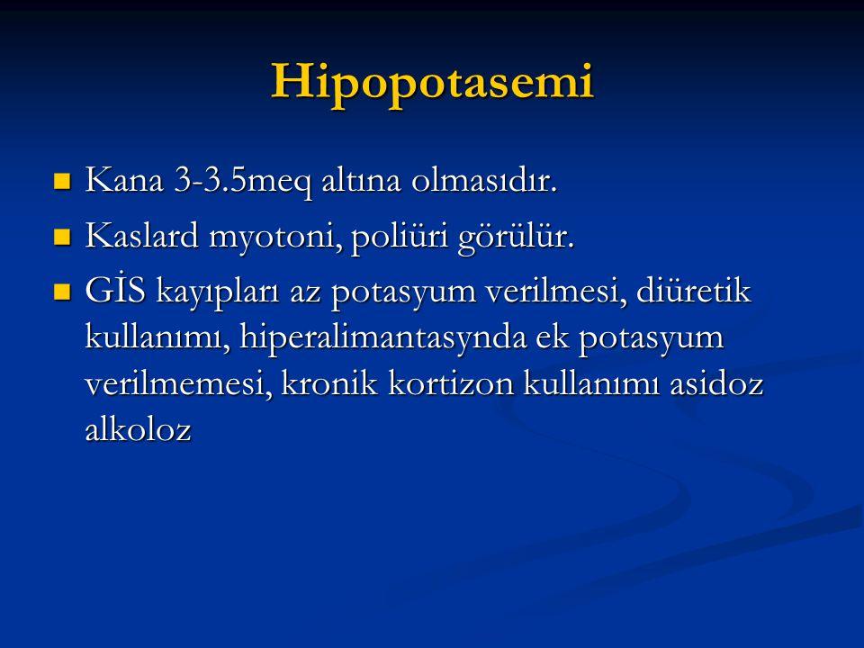 Hipopotasemi  Kana 3-3.5meq altına olmasıdır.  Kaslard myotoni, poliüri görülür.  GİS kayıpları az potasyum verilmesi, diüretik kullanımı, hiperali