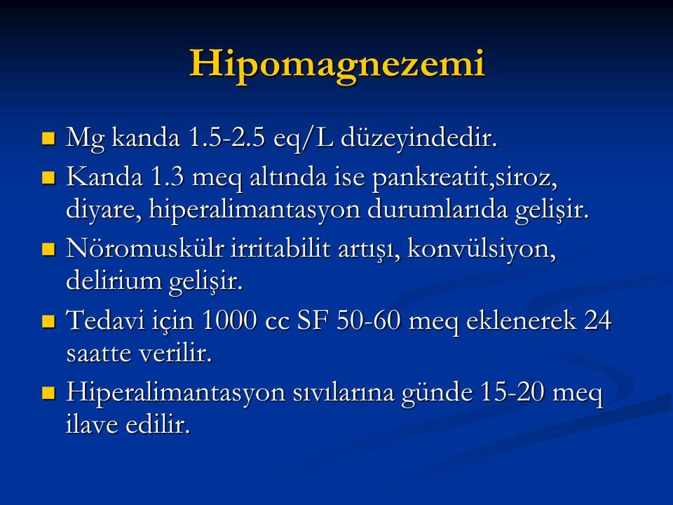 Hipomagnezemi  Mg kanda 1.5-2.5 eq/L düzeyindedir.  Kanda 1.3 meq altında ise pankreatit,siroz, diyare, hiperalimantasyon durumlarıda gelişir.  Nör