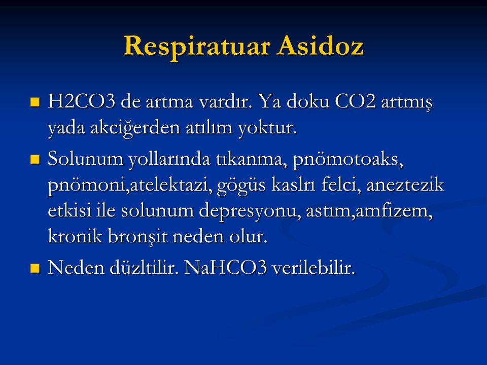 Respiratuar Asidoz  H2CO3 de artma vardır. Ya doku CO2 artmış yada akciğerden atılım yoktur.  Solunum yollarında tıkanma, pnömotoaks, pnömoni,atelek