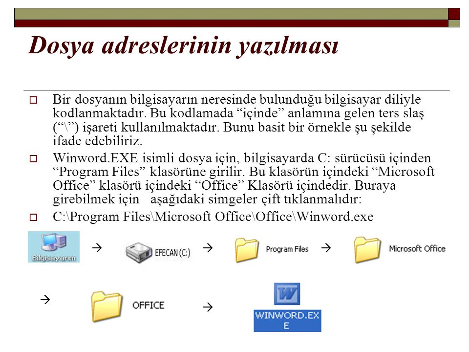 """Dosya adreslerinin yazılması  Bir dosyanın bilgisayarın neresinde bulunduğu bilgisayar diliyle kodlanmaktadır. Bu kodlamada """"içinde"""" anlamına gelen t"""