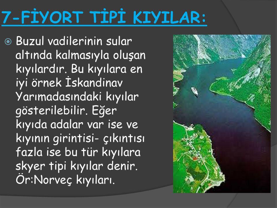 7-FİYORT TİPİ KIYILAR:  Buzul vadilerinin sular altında kalmasıyla oluşan kıyılardır. Bu kıyılara en iyi örnek İskandinav Yarımadasındaki kıyılar gös