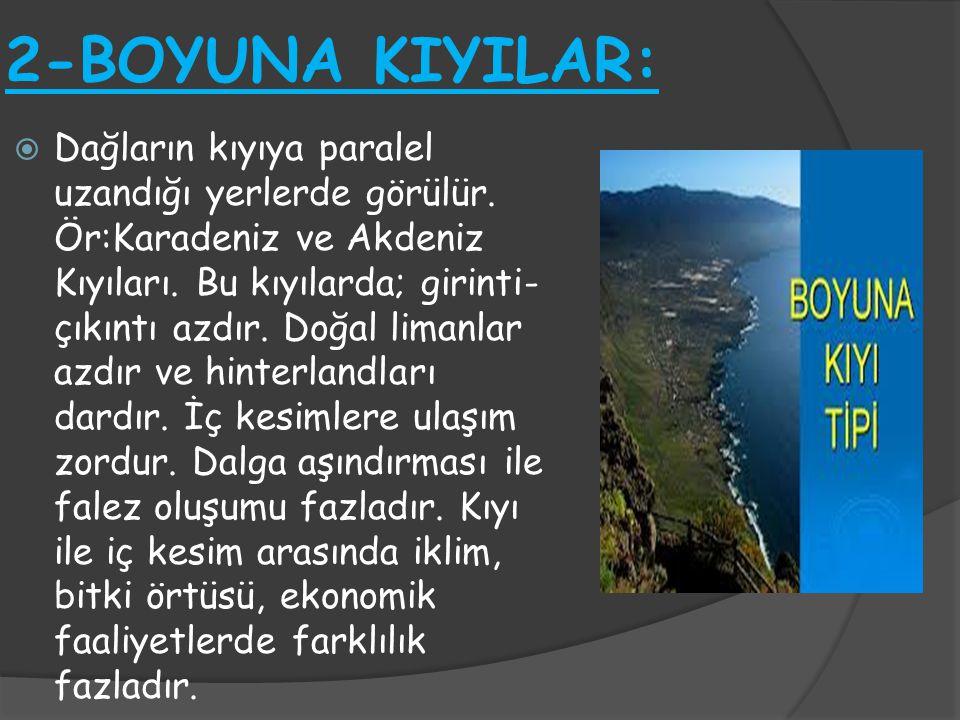 2-BOYUNA KIYILAR:  Dağların kıyıya paralel uzandığı yerlerde görülür. Ör:Karadeniz ve Akdeniz Kıyıları. Bu kıyılarda; girinti- çıkıntı azdır. Doğal l