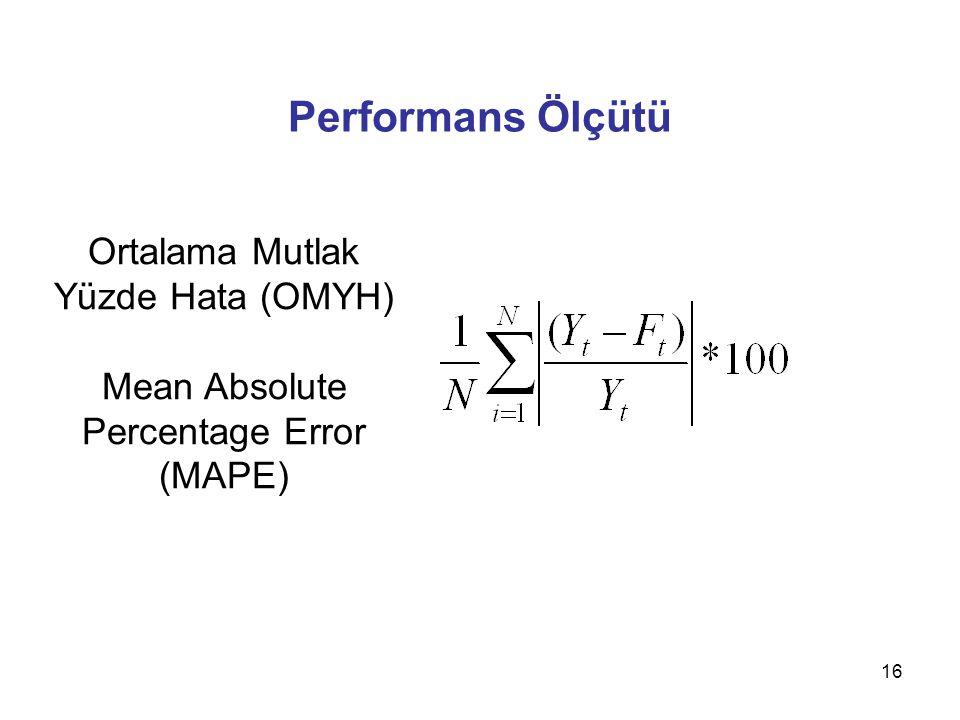 16 Performans Ölçütü Ortalama Mutlak Yüzde Hata (OMYH) Mean Absolute Percentage Error (MAPE)