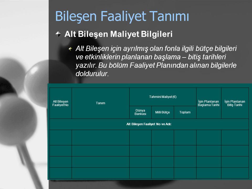 Bileşen Faaliyet Tanımı Alt Bileşen Maliyet Bilgileri Alt Bileşen için ayrılmış olan fonla ilgili bütçe bilgileri ve etkinliklerin planlanan başlama –