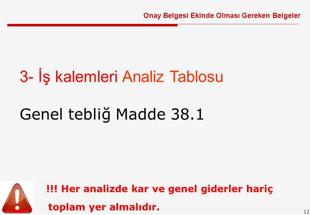 12 3- İş kalemleri Analiz Tablosu Genel tebliğ Madde 38.1 !!.