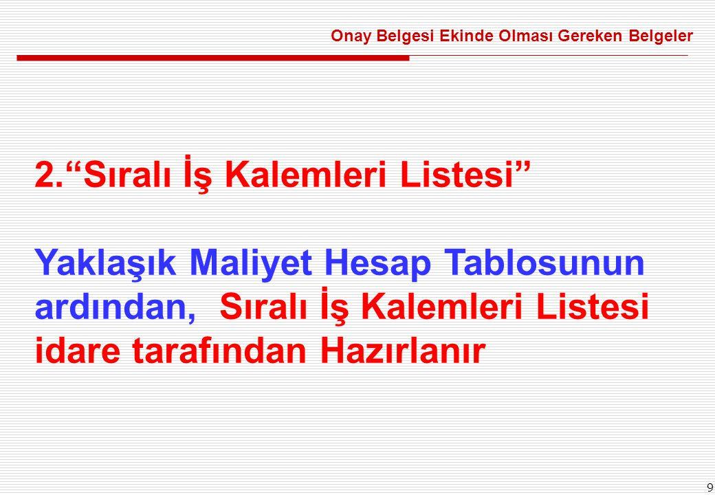 9 2. Sıralı İş Kalemleri Listesi Yaklaşık Maliyet Hesap Tablosunun ardından, Sıralı İş Kalemleri Listesi idare tarafından Hazırlanır Onay Belgesi Ekinde Olması Gereken Belgeler