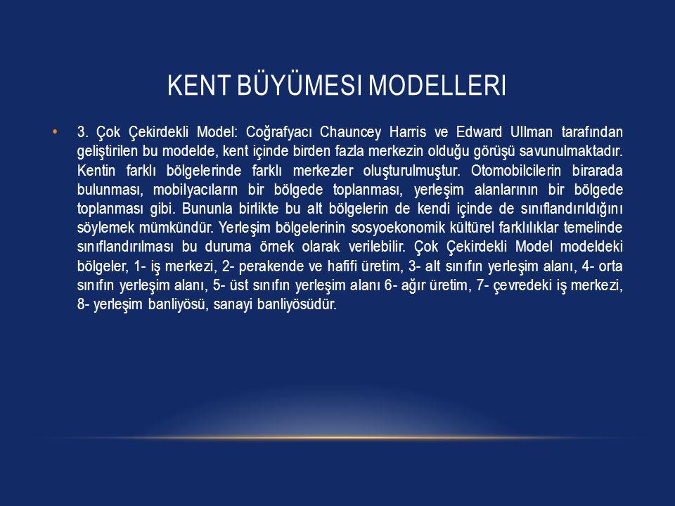 KENT BÜYÜMESI MODELLERI • 3. Çok Çekirdekli Model: Coğrafyacı Chauncey Harris ve Edward Ullman tarafından geliştirilen bu modelde, kent içinde birden