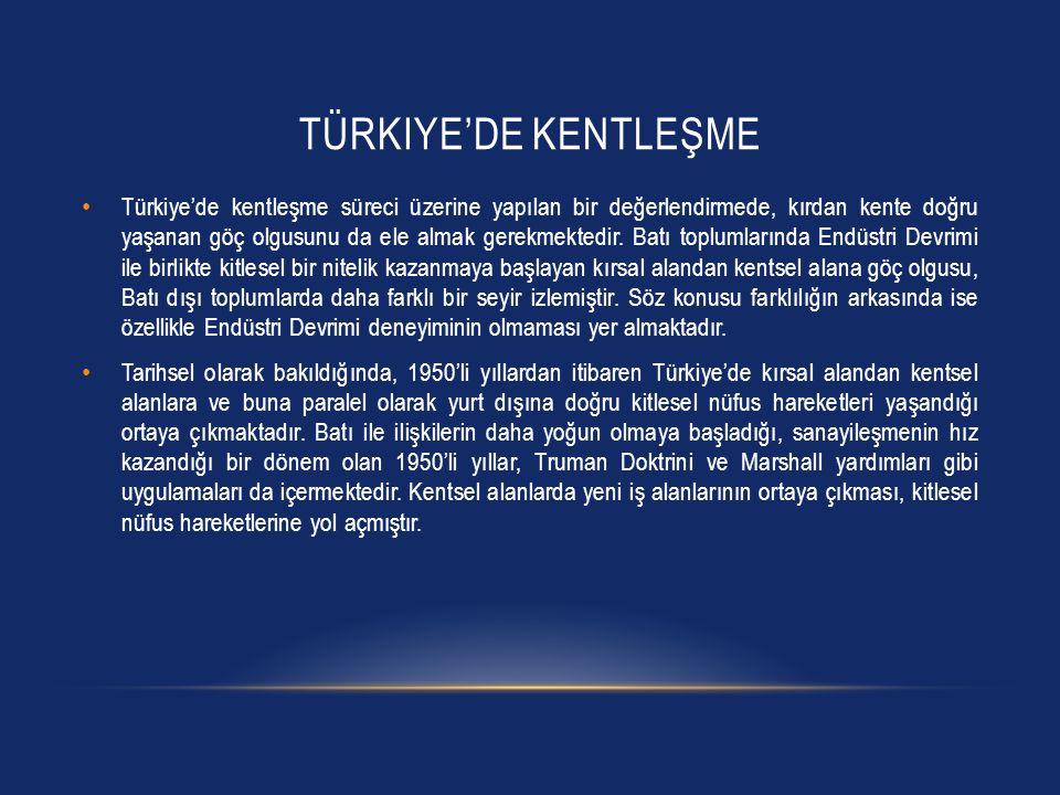 TÜRKIYE'DE KENTLEŞME • Türkiye'de kentleşme süreci üzerine yapılan bir değerlendirmede, kırdan kente doğru yaşanan göç olgusunu da ele almak gerekmekt