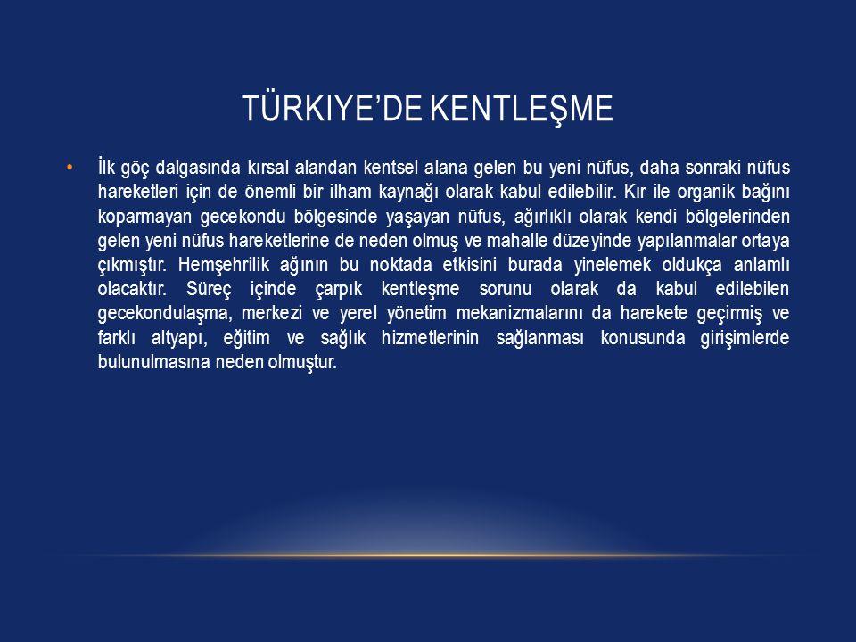 TÜRKIYE'DE KENTLEŞME • İlk göç dalgasında kırsal alandan kentsel alana gelen bu yeni nüfus, daha sonraki nüfus hareketleri için de önemli bir ilham ka