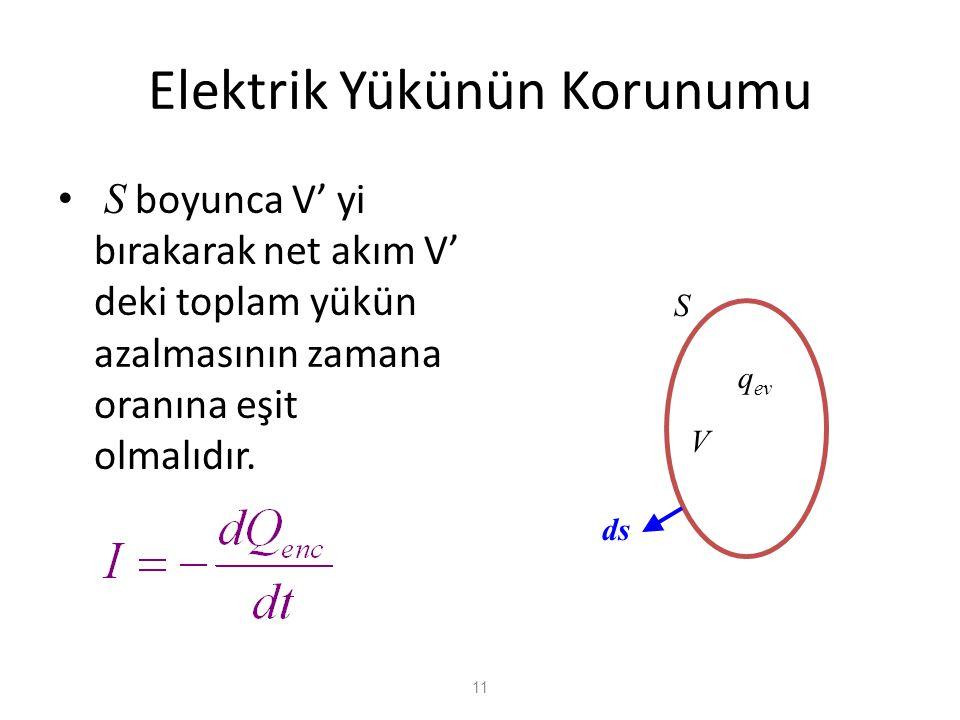 11 Elektrik Yükünün Korunumu • S boyunca V' yi bırakarak net akım V' deki toplam yükün azalmasının zamana oranına eşit olmalıdır. V S ds q ev