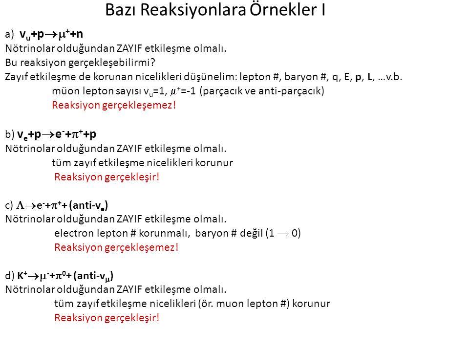 Bazı Reaksiyonlara Örnekler I a) v u +p  + +n Nötrinolar olduğundan ZAYIF etkileşme olmalı. Bu reaksiyon gerçekleşebilirmi? Zayıf etkileşme de korun