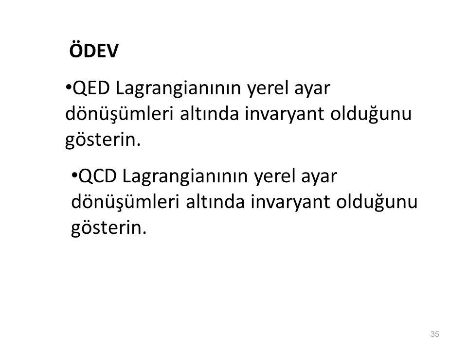 35 • QED Lagrangianının yerel ayar dönüşümleri altında invaryant olduğunu gösterin. • QCD Lagrangianının yerel ayar dönüşümleri altında invaryant oldu