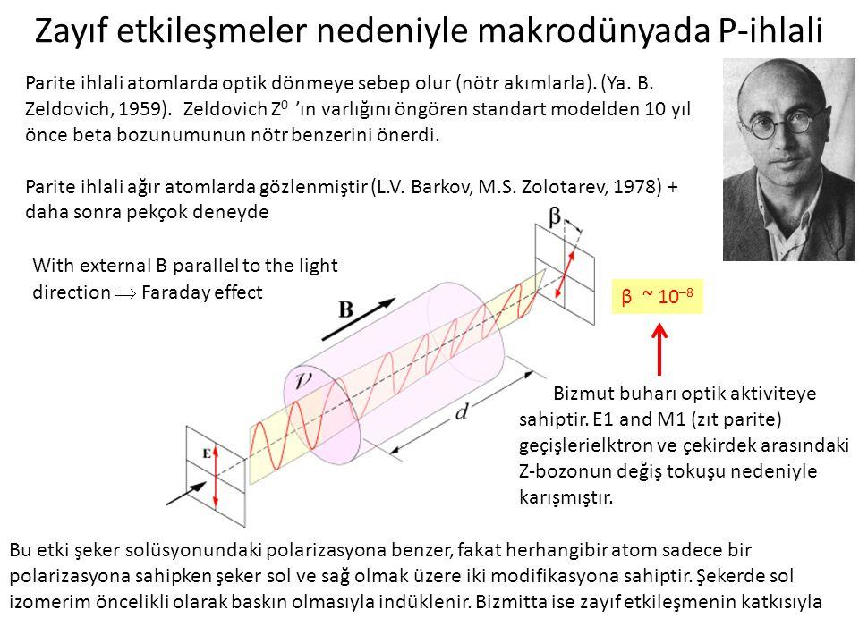 Zayıf etkileşmeler nedeniyle makrodünyada P-ihlali With external B parallel to the light direction  Faraday effect Bizmut buharı optik aktiviteye sah