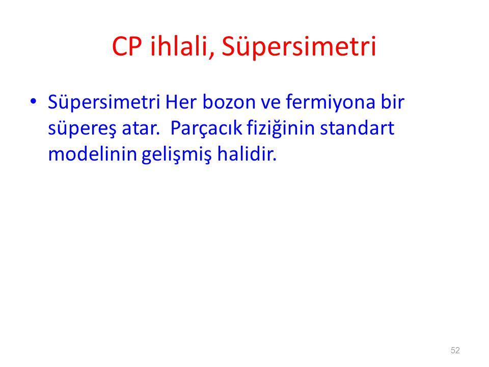 52 CP ihlali, Süpersimetri • Süpersimetri Her bozon ve fermiyona bir süpereş atar. Parçacık fiziğinin standart modelinin gelişmiş halidir.