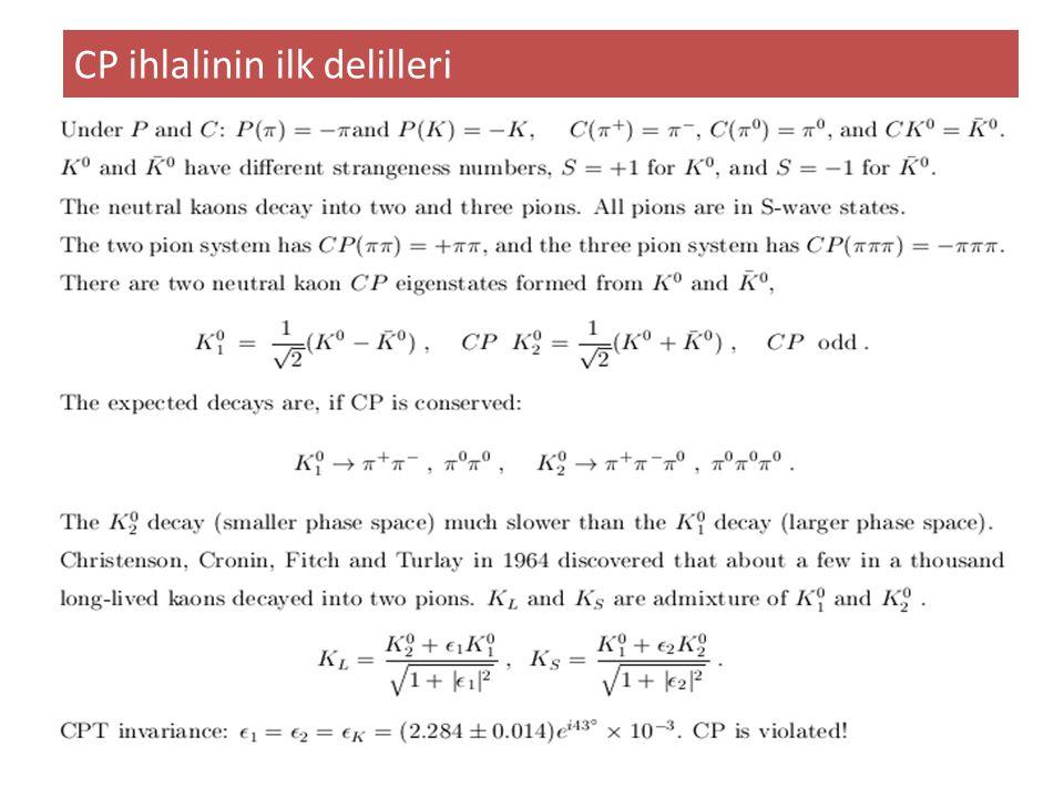 CP ihlalinin ilk delilleri Cronin and Fitch (1964)