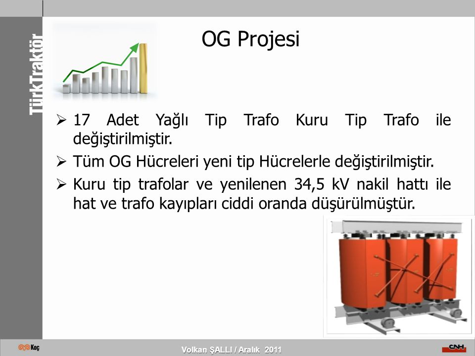 OG Projesi Volkan ŞALLI / Aralık 2011  17 Adet Yağlı Tip Trafo Kuru Tip Trafo ile değiştirilmiştir.  Tüm OG Hücreleri yeni tip Hücrelerle değiştiril