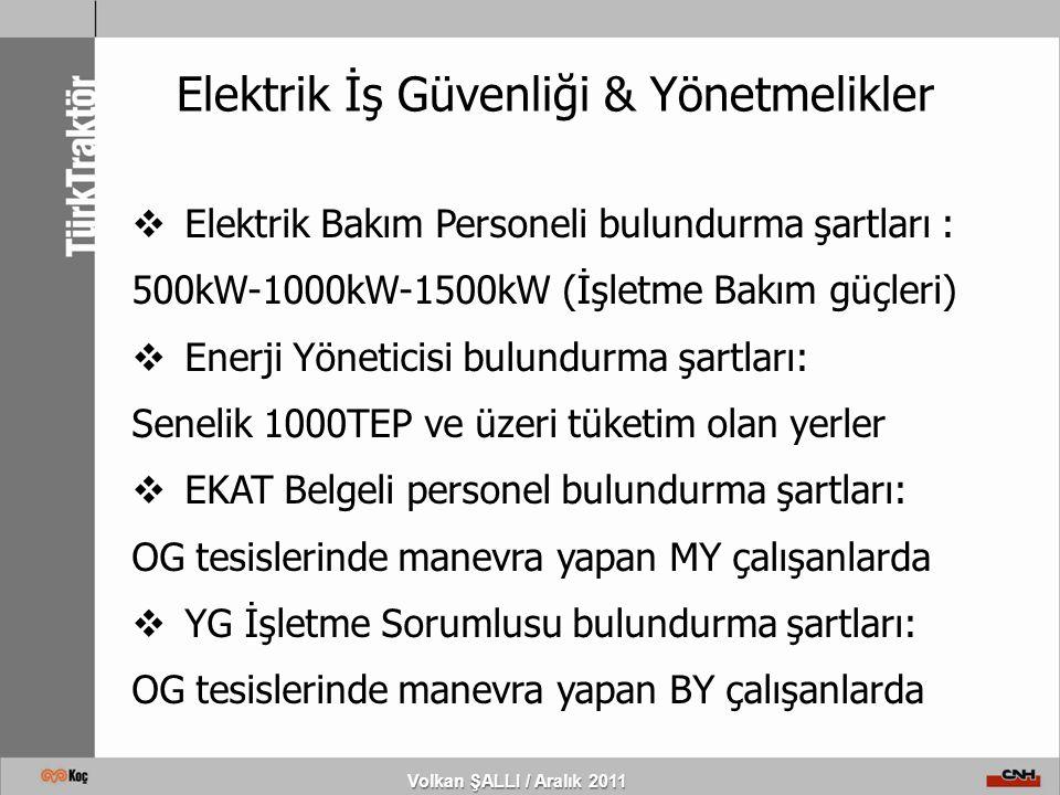 Volkan ŞALLI / Aralık 2011 Elektrik İş Güvenliği & Yönetmelikler  Elektrik Bakım Personeli bulundurma şartları : 500kW-1000kW-1500kW (İşletme Bakım g