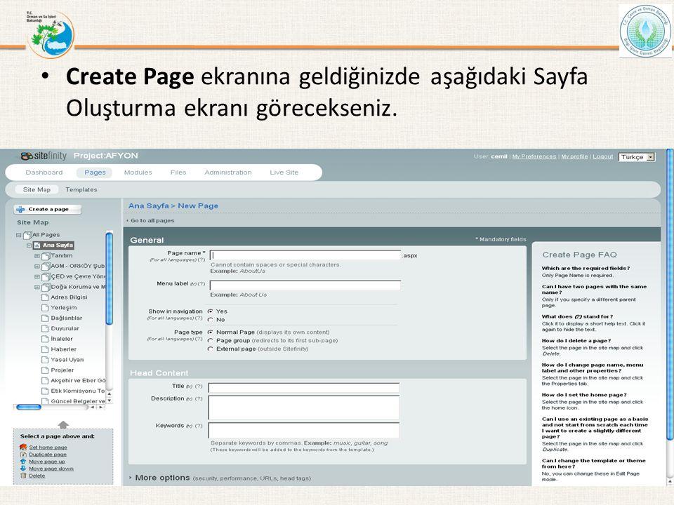 • Create Page ekranına geldiğinizde aşağıdaki Sayfa Oluşturma ekranı görecekseniz. Bilgi İşlem Daire Başkanlığı