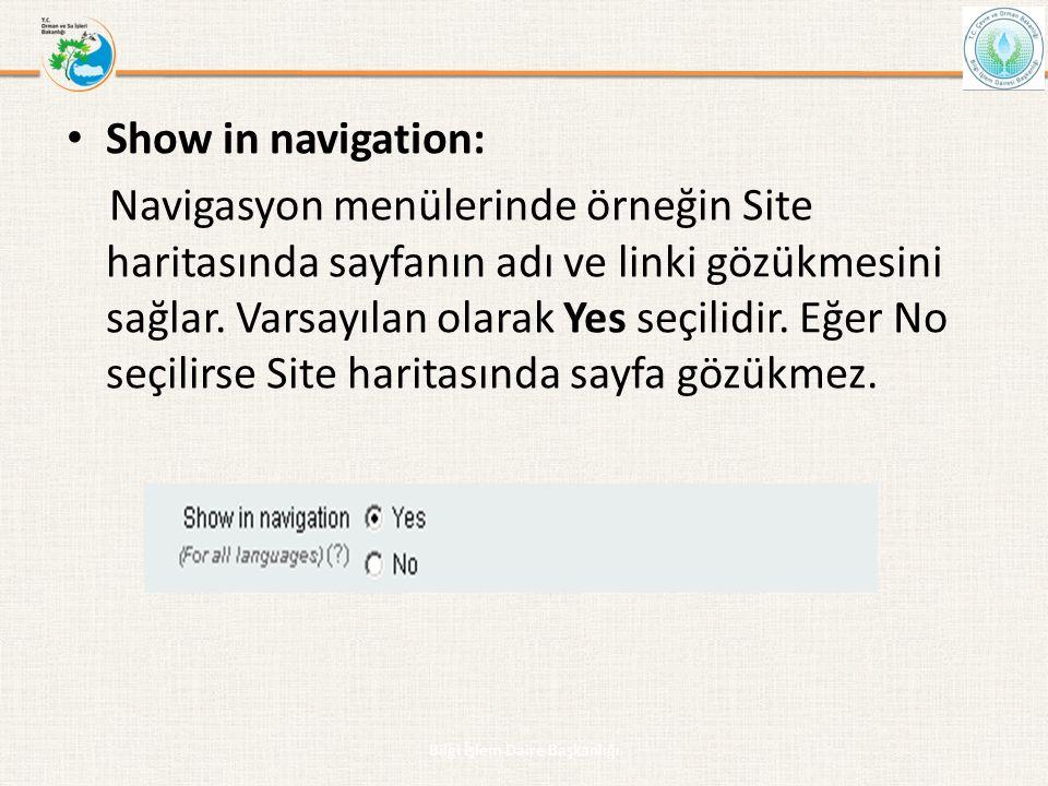 • Show in navigation: Navigasyon menülerinde örneğin Site haritasında sayfanın adı ve linki gözükmesini sağlar. Varsayılan olarak Yes seçilidir. Eğer