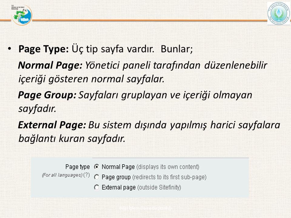 • Page Type: Üç tip sayfa vardır. Bunlar; Normal Page: Yönetici paneli tarafından düzenlenebilir içeriği gösteren normal sayfalar. Page Group: Sayfala