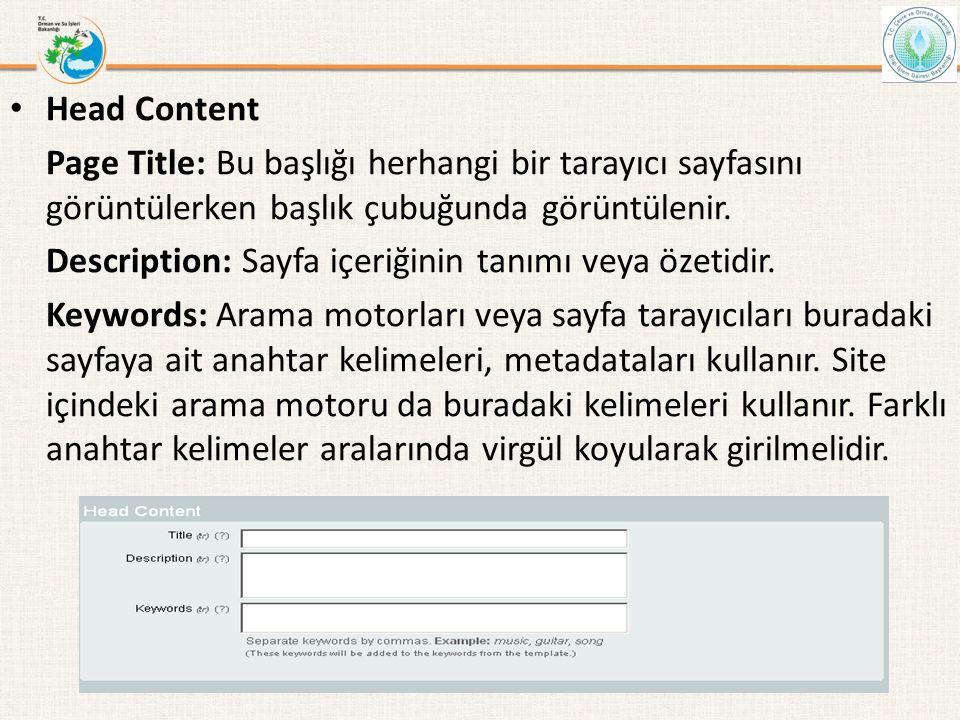 • Head Content Page Title: Bu başlığı herhangi bir tarayıcı sayfasını görüntülerken başlık çubuğunda görüntülenir. Description: Sayfa içeriğinin tanım