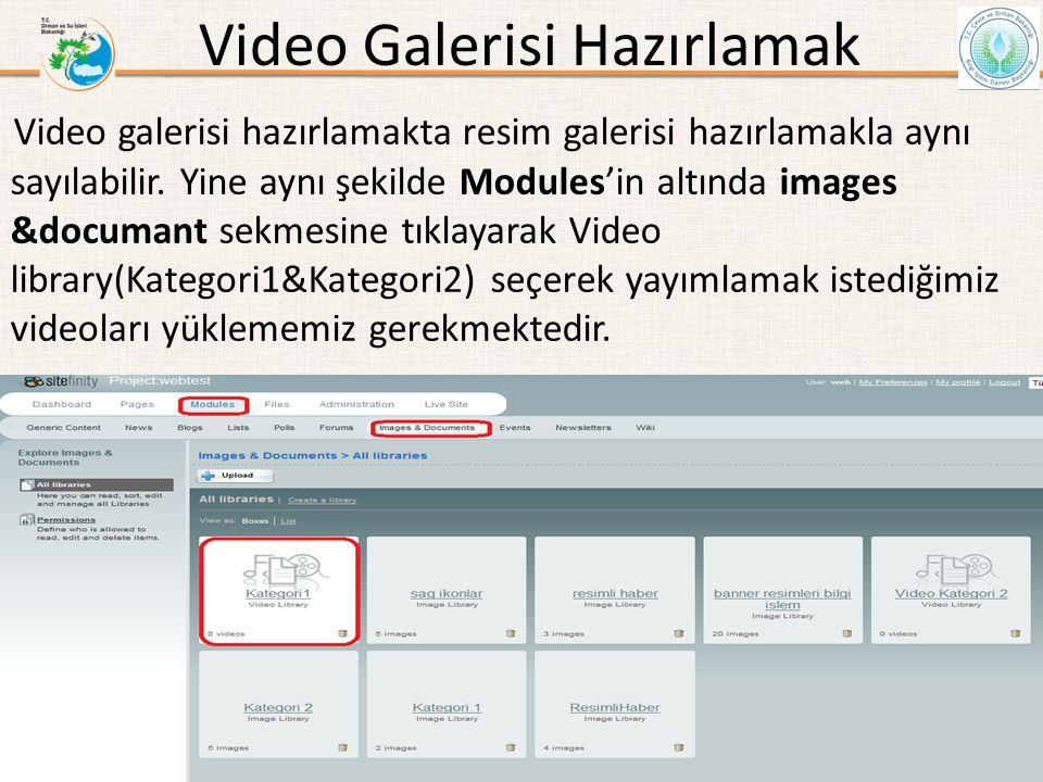 Video Galerisi Hazırlamak Video galerisi hazırlamakta resim galerisi hazırlamakla aynı sayılabilir. Yine aynı şekilde Modules'in altında images &docum