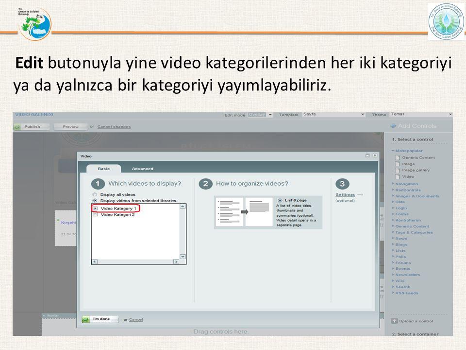 Edit butonuyla yine video kategorilerinden her iki kategoriyi ya da yalnızca bir kategoriyi yayımlayabiliriz. Bilgi İşlem Daire Başkanlığı