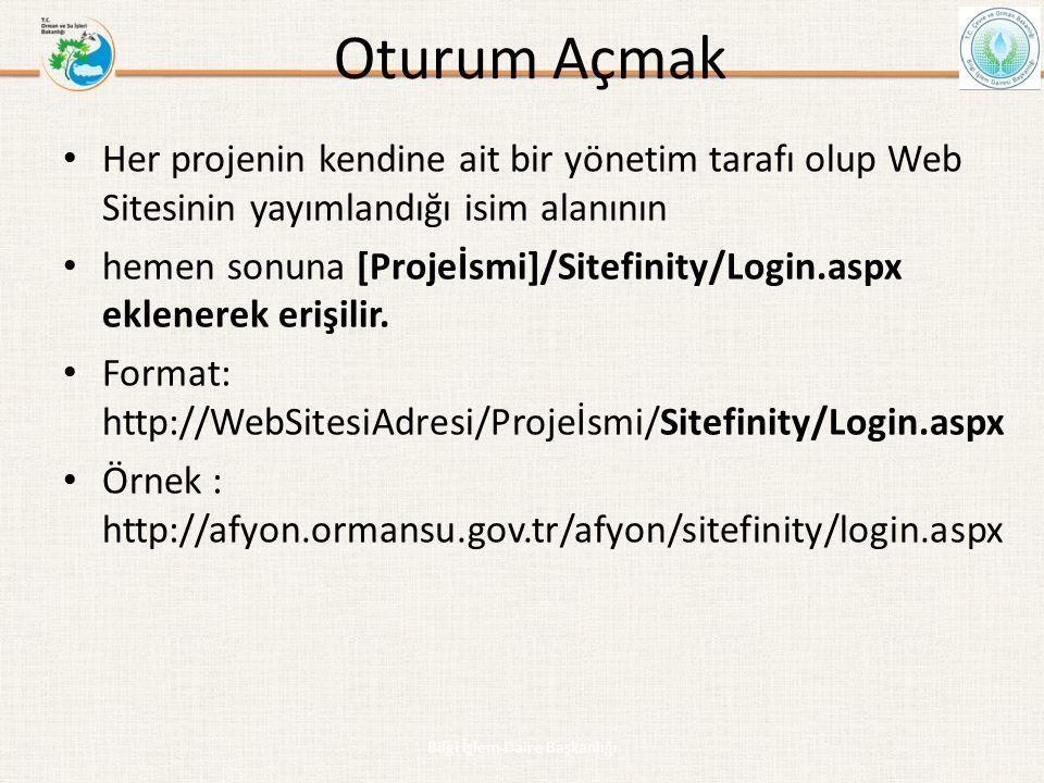 Oturum Açmak • Her projenin kendine ait bir yönetim tarafı olup Web Sitesinin yayımlandığı isim alanının • hemen sonuna [Projeİsmi]/Sitefinity/Login.a