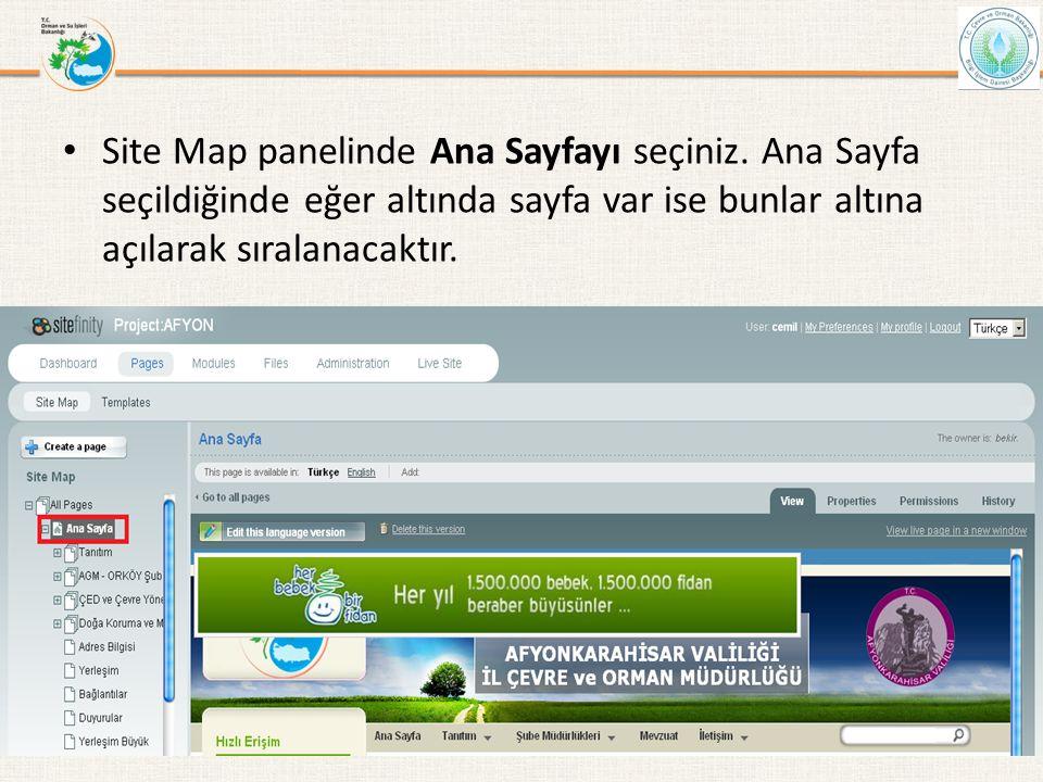 • Site Map panelinde Ana Sayfayı seçiniz. Ana Sayfa seçildiğinde eğer altında sayfa var ise bunlar altına açılarak sıralanacaktır. Bilgi İşlem Daire B