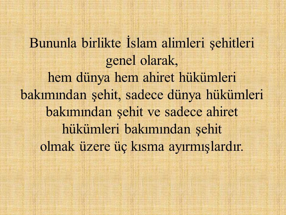 Bununla birlikte İslam alimleri şehitleri genel olarak, hem dünya hem ahiret hükümleri bakımından şehit, sadece dünya hükümleri bakımından şehit ve sa
