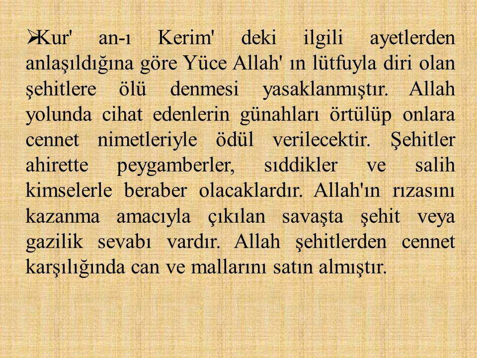  Kur' an-ı Kerim' deki ilgili ayetlerden anlaşıldığına göre Yüce Allah' ın lütfuyla diri olan şehitlere ölü denmesi yasaklanmıştır. Allah yolunda cih
